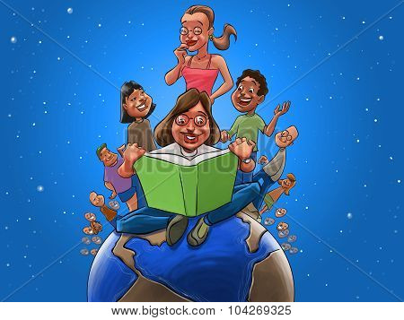 Children And Teacher Readin A Book