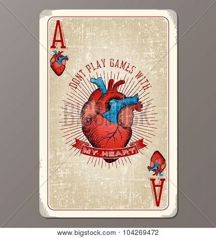 Vintage playing card ace of hearts with human heart illustration