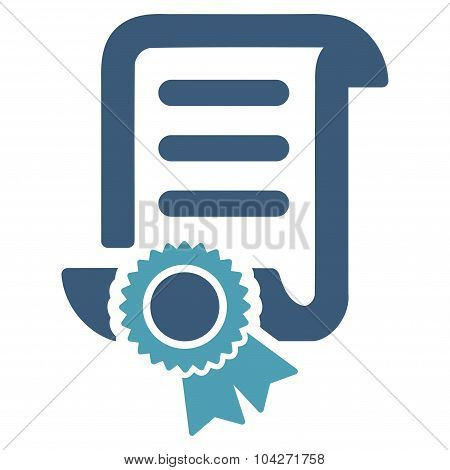 Certified Scroll Document glyph icon. Style is bicolor flat symbol, cyan and blue colors, rounded angles, white background. poster