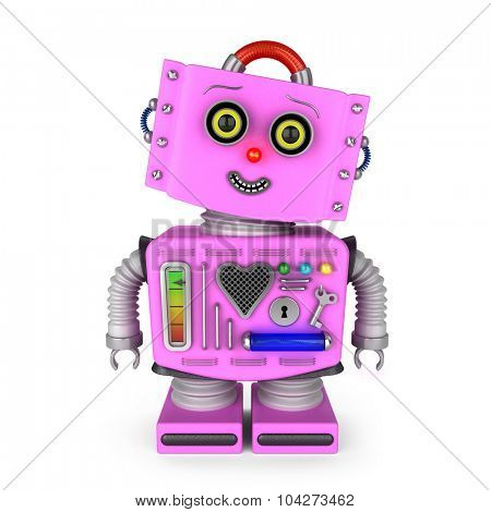 Pink vintage toy robot girl over white background with head tilted to the side smiling into the camera