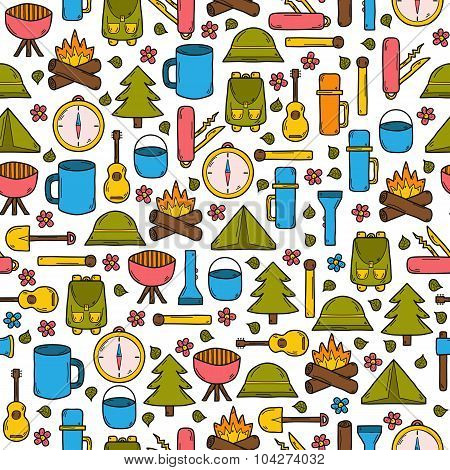 Seamless camping background