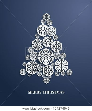Christmas Tree Made Of Paper Snowflakes.