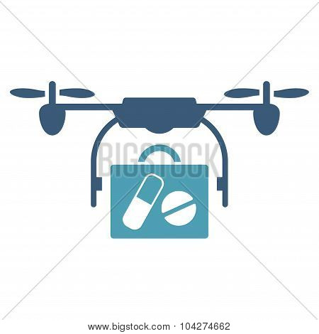 Medical Drone Shipment glyph icon. Style is bicolor flat symbol, cyan and blue colors, rounded angles, white background. poster