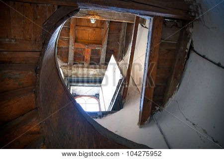 ROCHESTER, UK - MAY 16, 2015:  Spiral stairs at Upnor Castle. Upnor Castle is an Elizabethan artille