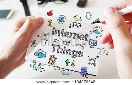 Mans Hand Drawing Internet Of Things Concept On Notebook
