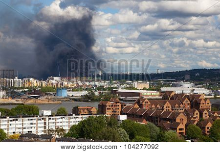 London, UK - May 18, 2015: Fire in East of London, ware house was burned