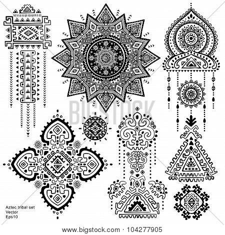 Set of Aztec tribal elements and symbols