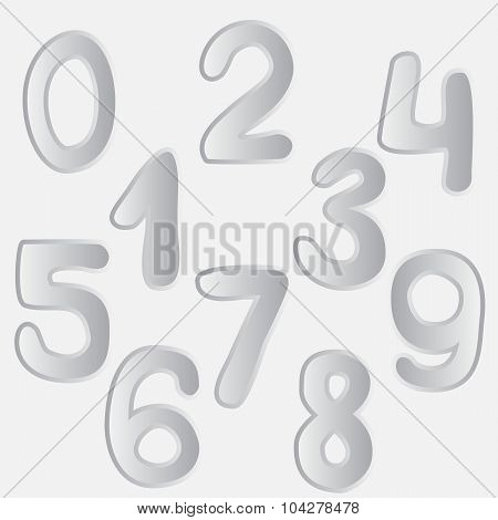 Number Set Drawing. Vector