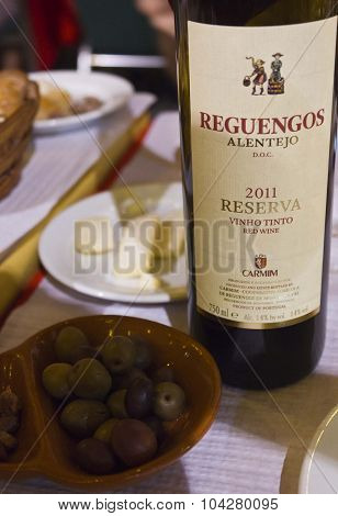 Bottle Of Reguengos Portuguese Red Wine