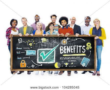 Benefits Gain Profit Income Earning Students Learning Concept poster