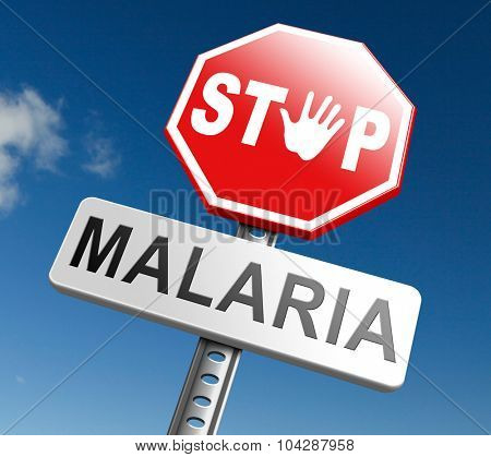 poster of stop malaria by prevention treatment with pills or mosquito nets good diagnosis for symptoms and insect repellent and net avoids bite and infection with parasite