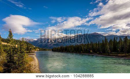 The Athabasca River viewed from the Maligne Road bridge