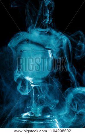 Aquamarine Smoke In A Glass. Halloween.