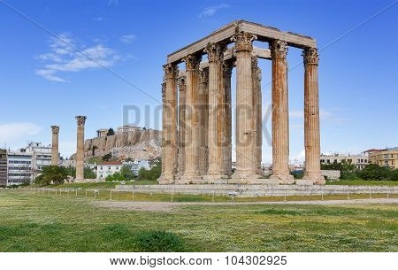 Temple of Olympian Zeus, Acropolis in background, Athens, Greece