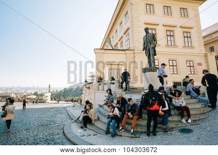 People resting near Tomas Garrigue Masaryk statue, Czech Republi