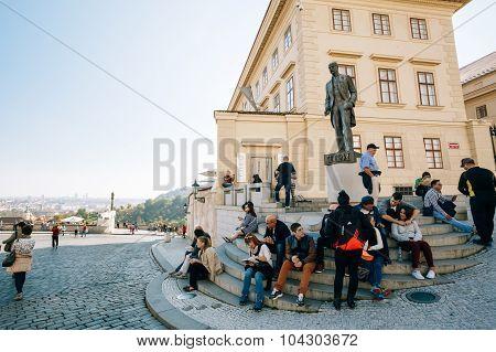 People resting near Tomas Garrigue Masaryk statue, Czech Republi