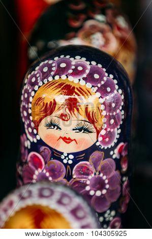 Colorful Russian Nesting Doll Matreshka At Market.