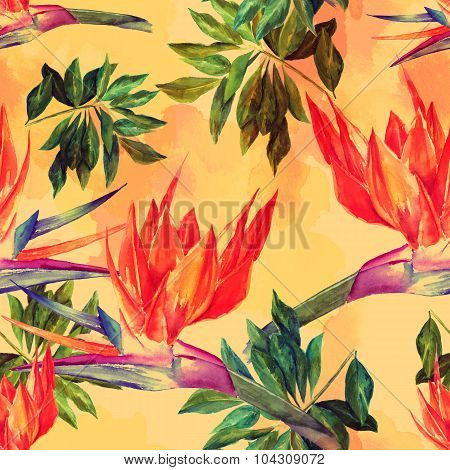 Seamless watercolour background with bright tropical flowers and leaves poster