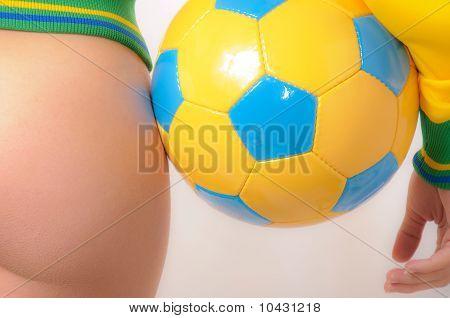 Brazilian Bikini Bottom Model Holding Soccer Ball