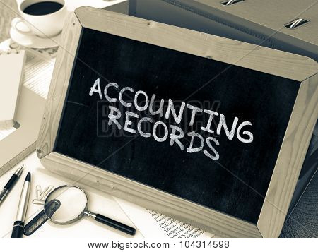 Hand Drawn Accounting Records Concept on Small Chalkboard.