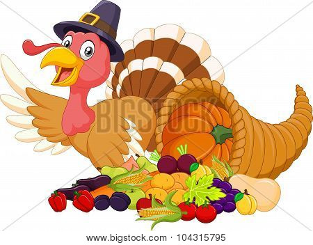 Cartoon turkey with horn of plenty isolated on white background