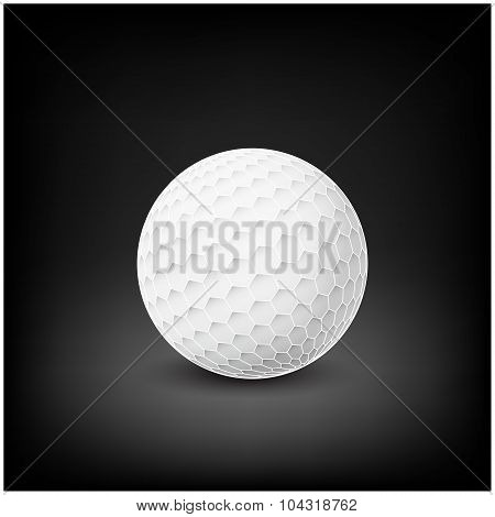 Golfball Realistic Vector. Image Of Single Golf Equipment, Ball.  Illustration Isolated On Dark Mesh