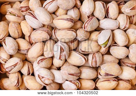 Pistachio nuts in a shell, salty, roasted
