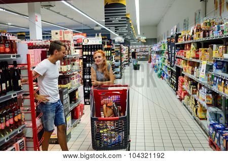BORDEAUX, FRANCE - AUGUST 13, 2015: Simply Market customers. Simply Market is a brand of French supermarkets formed in 2005. This brand is a new concept to eventually replace Atac supermarkets
