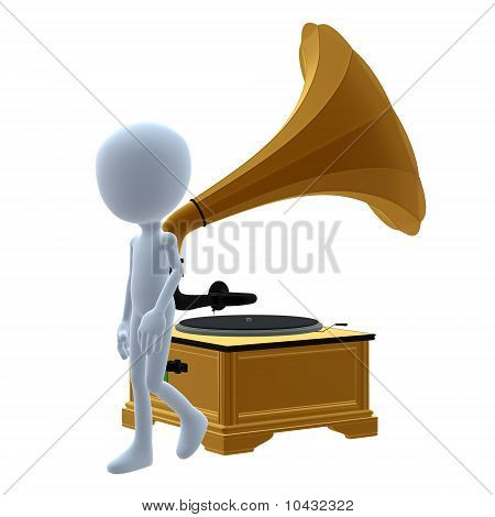 3D guy with a phonograph on a white background poster