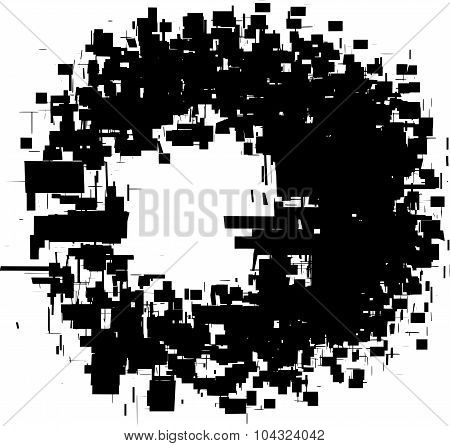 exploded futuristic round shape in black over white poster
