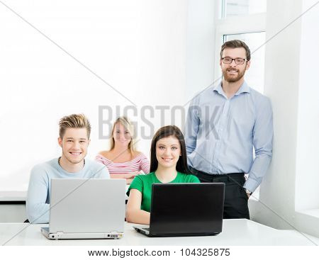 Students at the informatics and programming lesson