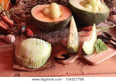 Cantaloupe melon fruit juicy and Melon cake poster