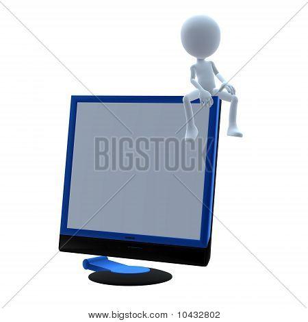 3D Guy Wtih A Computer Screen