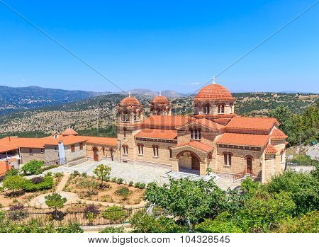 new cathedral of christian orthodox monastery of the assumption of the Virgin Mary in Malevi, Peloponnese, Greece poster