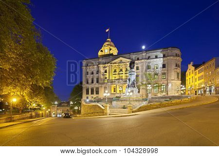Quebec City Old Town At Night, Canada, Editorial