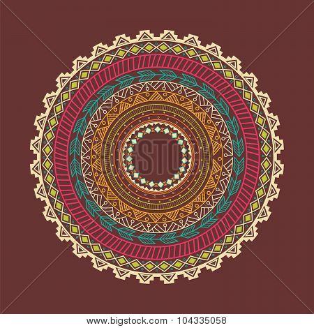 Ethnic Aztec Circle Ornament
