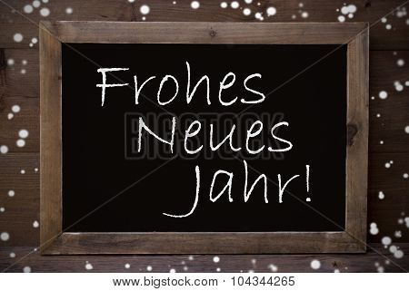 Chalkboard With Frohes Neues Jahr Mean New Year, Snowflakes
