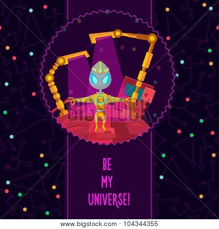 Space Vector Illustration In Style Flat About Alien In The Universe