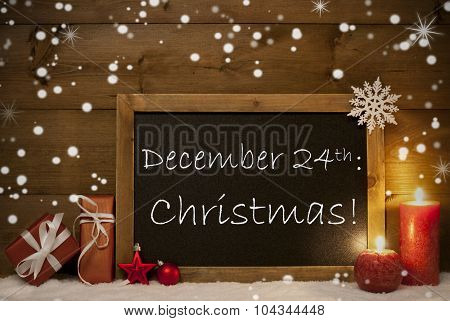 Christmas Card, Blackboard, Snowflakes, Candles, December 24th