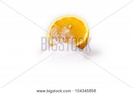 Yelllow Lemon With Salt On White Background
