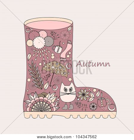 Isolated Doodle  Boot. Autumn Background. Stock Vector Illustration