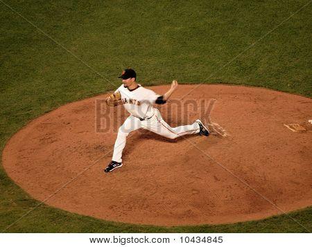 Giants Javier Lopez Steps Forward To Throw Pitch