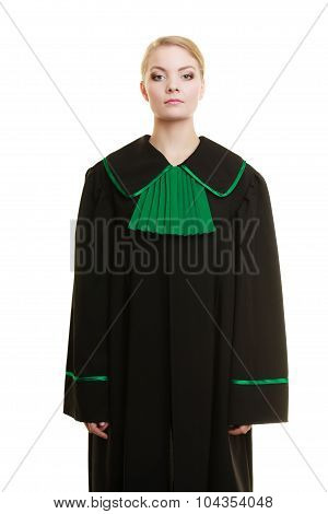 Law court or justice concept. Portrait young woman lawyer attorney wearing polish Poland black green gown on white poster