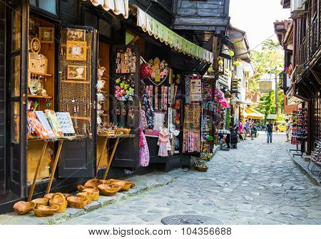 Shopping Street In The Old Town Of Nessebar, Bulgaria