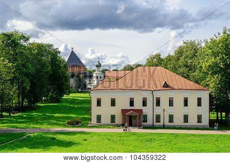 VELIKY NOVGOROD, RUSSIA - AUGUST 18, 2014. Building Umpire town in the Novgorod Kremlin, Veliky Novgorod, Russia