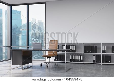 A Ceo Workplace In A Modern Corner Panoramic Office With Singapore City View. A Black Desk With A La