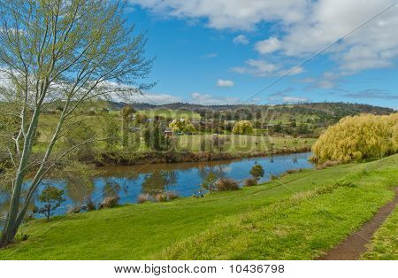 Pastoral Scene And River View Tasmania Australia
