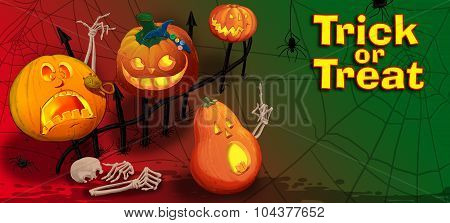 Invitation Card With Halloween Pumpkins.