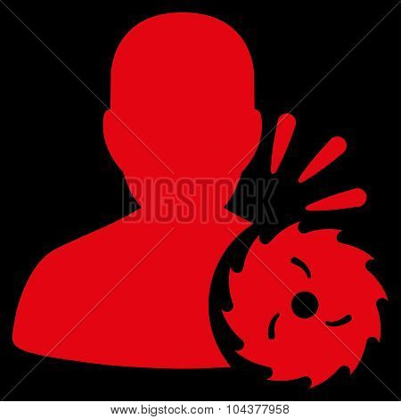 Body Execution raster icon. Style is flat symbol, red color, rounded angles, black background. poster