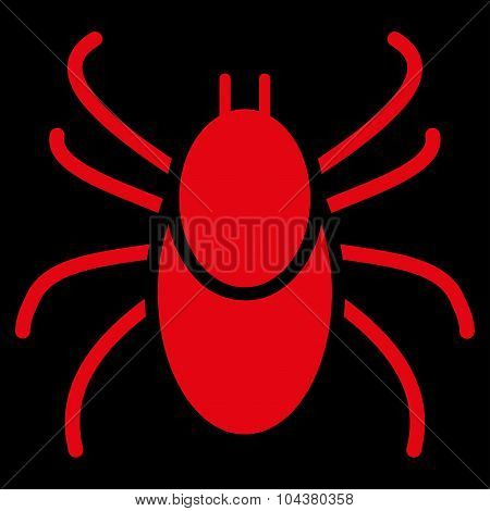 Mite raster icon. Style is flat symbol, red color, rounded angles, black background. poster